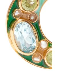 Percossi Papi - Green Gold-plated And Enamel Multi-stone Earrings - Lyst
