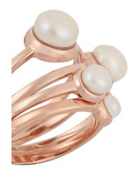 Eddie Borgo - Multicolor Set Of Four Rose Gold-plated Pearl Rings - Lyst