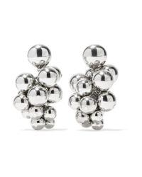 Oscar de la Renta - Metallic Beaded Silver-tone Clip Earrings - Lyst