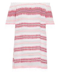 Lemlem - White Tabtab Off-the-shoulder Striped Cotton-blend Gauze Mini Dress - Lyst