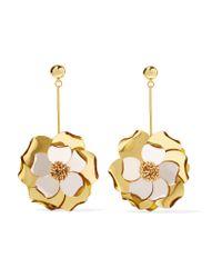 Oscar de la Renta - Metallic Petunia Gold-tone, Bead And Acetate Earrings - Lyst