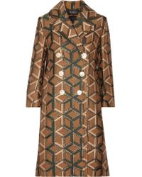 Gucci | Brown Double-breasted Metallic Jacquard Coat | Lyst