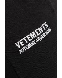 Vetements - Black Embroidered Stretch-cotton Jersey Track Pants - Lyst