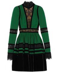 Elie Saab | Green Long Sleeve Mini Dress | Lyst