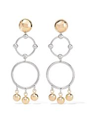 Eddie Borgo | Metallic Barbell Chandelier Gold And Silver-plated Earrings | Lyst