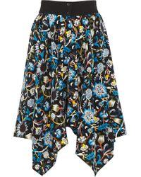 J.W.Anderson | Black - Printed Silk Crepe De Chine Skirt - Midnight Blue | Lyst