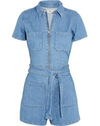 Madewell - Blue Cotton And Linen-blend Playsuit - Lyst