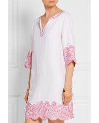 MICHAEL Michael Kors - White Broderie Anglaise Linen Mini Dress - Lyst