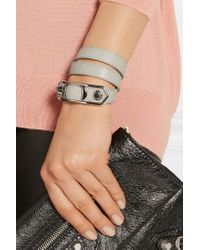 Balenciaga - Metallic Triple Tour Textured-leather And Silver-tone Bracelet - Lyst