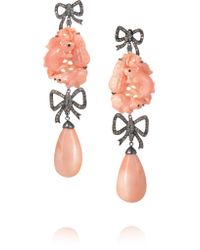 Lydia Courteille | Orange 18-karat Blackened White Gold, Diamond And Coral Earrings | Lyst