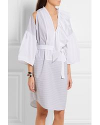 TOME - White Belted Ruffled Cotton-poplin Dress - Lyst