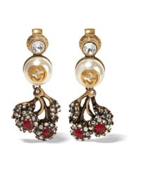 Gucci - Metallic Ruthenium-plated, Swarovski Crystal And Faux Pearl Clip Earrings - Lyst