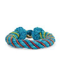 Aurelie Bidermann - Blue Maya Beaded Braided Cotton And Silk Bracelet - Lyst