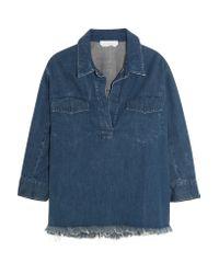 Chloé - Blue Oversized Frayed Denim Shirt - Lyst