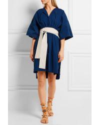 Cedric Charlier - Blue Belted Cotton And Linen-blend Dress - Lyst
