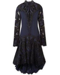 Jonathan Simkhai - Blue Asymmetric Crepe And Guipure Lace Dress - Lyst