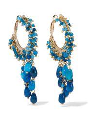 Rosantica - Blue Pascoli Gold-tone Quartz Hoop Earrings - Lyst