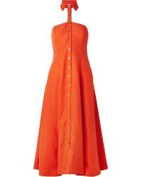 Mara Hoffman - Orange Veronique And Linen-blend Halterneck Dress - Lyst