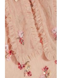 Needle & Thread | Pink Ditsy Pussy-bow Embellished Tulle Blouse | Lyst