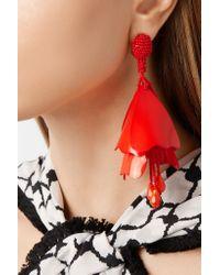 Oscar de la Renta - Multicolor Impatiens Gold-plated Resin Clip Earrings - Lyst