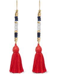 Aurelie Bidermann   Metallic Sioux Gold-plated, Lapis Lazuli, Rhyolite And Cotton Earrings   Lyst