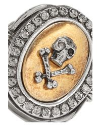 Alexander McQueen - Metallic Palladium-tone Crystal Ring - Lyst