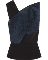 Roland Mouret - Blue Semley One-shoulder Organza-paneled Crepe Top - Lyst