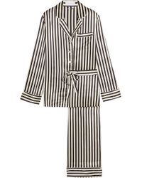 Olivia Von Halle - Black Lila Striped Silk-satin Pajama Set - Lyst