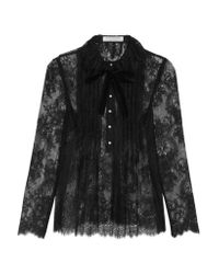 Philosophy Di Lorenzo Serafini - Black Pintucked Lace Blouse - Lyst