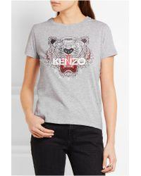 KENZO - Gray Printed Cotton-jersey T-shirt - Lyst