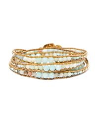 Chan Luu - Blue Leather, Gold-plated And Amazonite Wrap Bracelet - Lyst