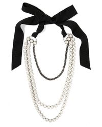 Lanvin - Black Mariepol Burnished Silver-plated Faux Pearl Necklace - Lyst