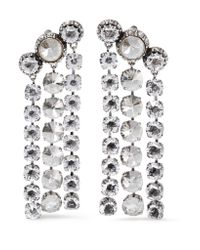 Lanvin | Metallic Silver And Pewter-plated Swarovski Crystal Clip Earrings | Lyst