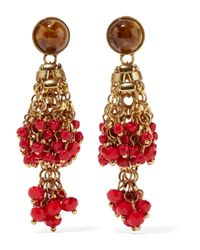 Etro | Red Gold-plated, Bead And Crystal Earrings | Lyst