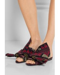 N°21 - Black Knotted Embroidered Suede Sandals - Lyst
