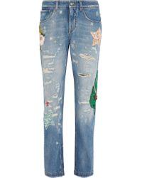 Dolce & Gabbana | Blue Mid-rise Boyfriend-fit Straight-leg Jeans | Lyst