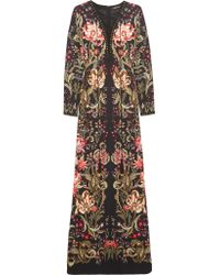 Roberto Cavalli | Black Embellished Printed Stretch-jersey Maxi Dress | Lyst