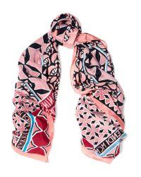 Fendi - Pink Printed Silk Crepe De Chine Scarf - Lyst