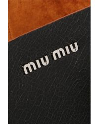 Miu Miu - Brown Madras Textured-Leather Tote - Lyst