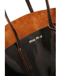 Miu Miu - Brown Madras Textured-Leather Tote - Lyst