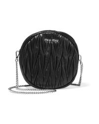 Miu Miu | Black Moon Matelassé Leather Shoulder Bag | Lyst