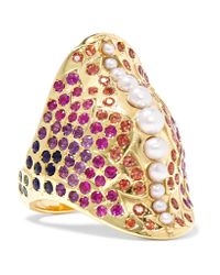 Venyx   Metallic 18-karat Gold Multi-stone Ring   Lyst