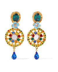 Dolce & Gabbana - Metallic Gold-plated, Swarovski Crystal And Enamel Clip Earrings - Lyst