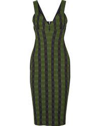 Victoria Beckham - Green Gingham Stretch-knit Dress - Lyst