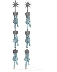 Gucci - Blue Silver-tone, Swarovski Crystal And Faux Pearl Earrings - Lyst