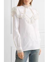 Vilshenko - White Suzy Ruffled Lace-paneled Cotton-faille Blouse - Lyst