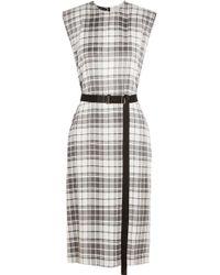 Calvin Klein - Black Checked Silk Crepe De Chine Dress - Lyst