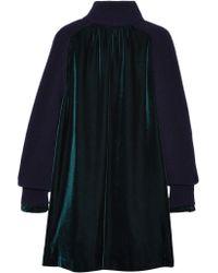 Sacai - Blue Wool-paneled Velvet Dress - Lyst
