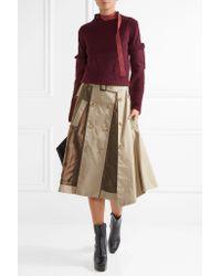 Facetasm - Natural Satin-paneled Cotton-twill Skirt - Lyst