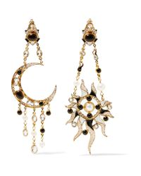 Percossi Papi - Metallic Diego Sun and Moon Goldplated Multistone Earrings - Lyst